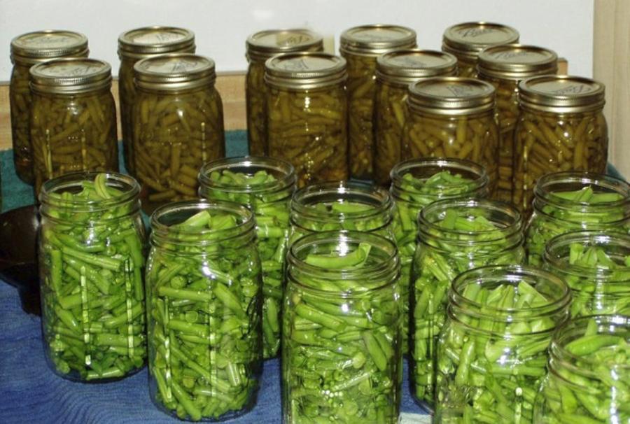 Fasole verde la borcan, conservată pentru iarnă